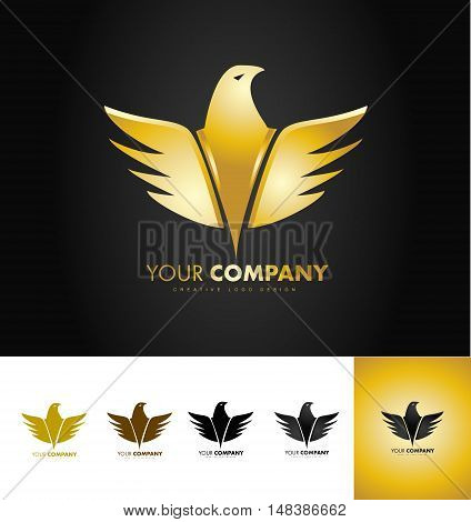 Golden eagle bird vector logo icon design black backround gold