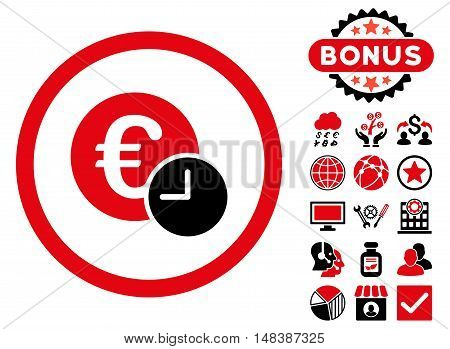 Euro Credit icon with bonus pictogram. Vector illustration style is flat iconic bicolor symbols, intensive red and black colors, white background.