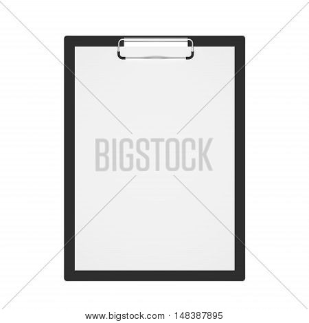 Top view black clipboard with blank white sheet attached isolated on white. 3D illustration.