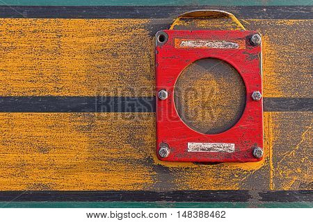 Train Detail Close Up. Old Rusty Locomotive Abstract Background. Dirty Yellow Industrial Metal Textu