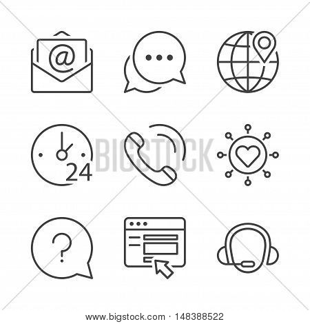 call center contact icons set thin line black color