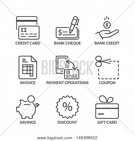 payment methods icons set thin line black color