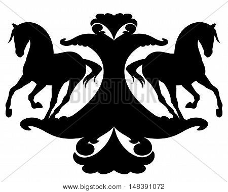 running horses silhouettes black and white vector design element