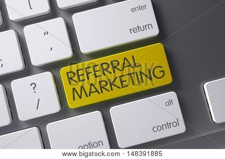 Referral Marketing Concept Laptop Keyboard with Referral Marketing on Yellow Enter Key Background, Selected Focus. 3D.