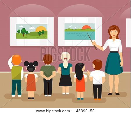 Young children and the teacher on a field trip to an art museum looking at pictures