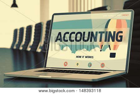 Accounting. Closeup Landing Page on Mobile Computer Screen. Modern Meeting Hall Background. Toned Image. Blurred Background. 3D.