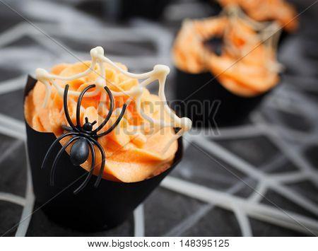 Orange spider cupcake for Halloween