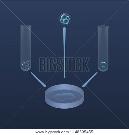 In vitro fertilization IVF . Insemination. Ovum and sperm spermatozoons in test-tubes, petri dish, Embrio development, In vitro ivf. Blue picture for in vitro theme. In vitro IVF process.