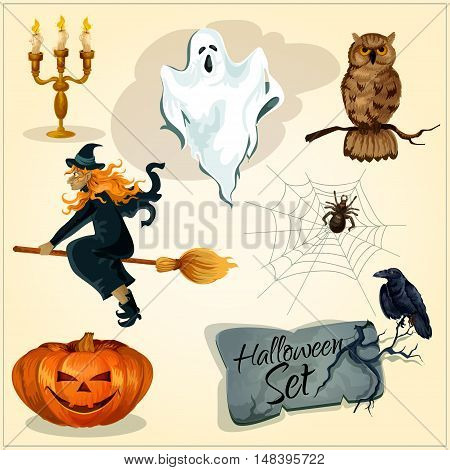 Funny creepy decoration elements set for Halloween. Vector isolated symbols of smiling sinister pumpkin, flying witch on magic broom, scary ghost, crying owl, spider web, black crow on grave stone