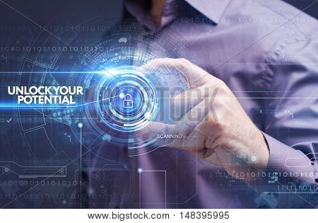 Business, Technology, Internet And Network Concept. Young Businessman Working On A Virtual Screen: U