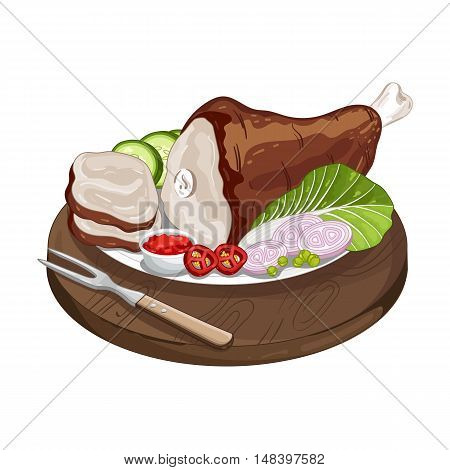 Pork shank on cutting board isolated on white background vector illustration. Roasted meat food. Pork shank icon. Bbq grill concept. Bbq meat. Barbecue food.