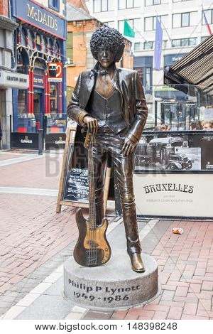 DUBLIN, IRELAND - 07 MAY, 2016: Phil Lynott Statue in Harry Street. The Irish musician, singer and songwriter was the lead vocalist of the famous band Thin Lizzy.