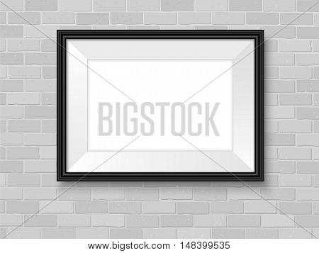 Frame Mockup On Brick Wall Template Horizontal Black