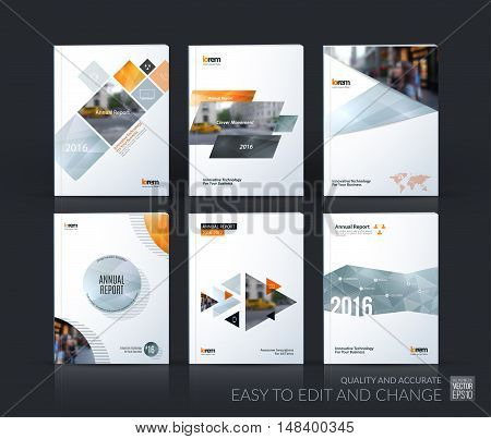 Brochure template layout, cover design annual report, magazine, flyer, leaflet in A4 with grey yellow square, circle, triangles, polygons with overlap effect for business, finance. Vector set.