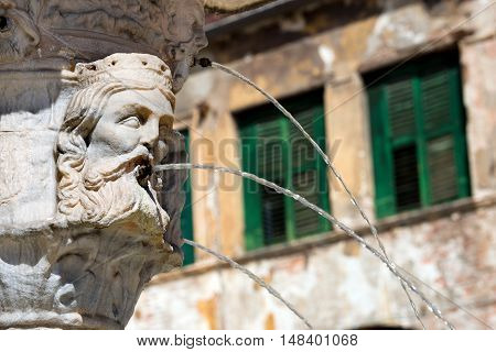 Detail of the fountain of Madonna Verona with heads of kings in Verona (UNESCO world heritage site) Veneto Italy