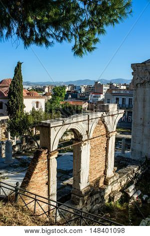 view of Ancient Agora in Athens, Greece