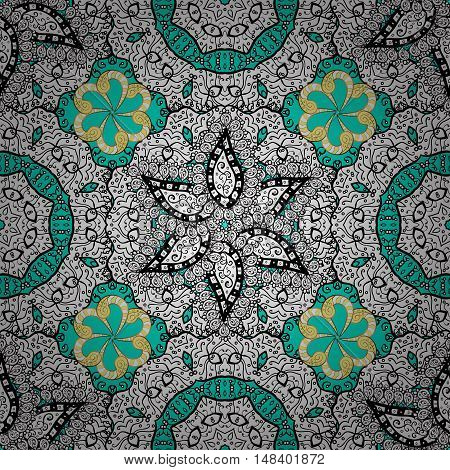 Stock vector elegant card with a circular ethnic ornament in vintage style on the lace seamless pattern background. Beautiful background for your design.