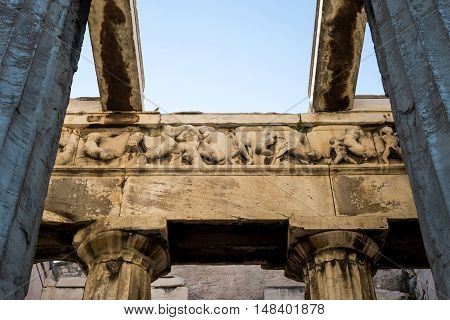 Details of the temple of Hephaestus in Ancient Agora Athens Greece