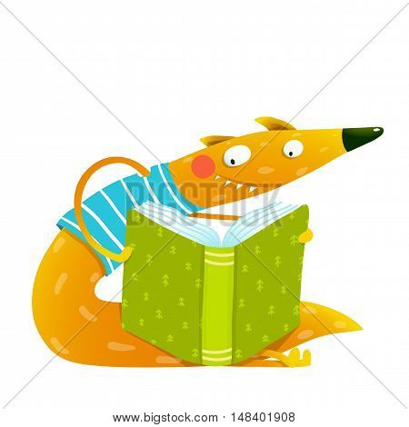 Cute red fox sitting and reading book. Wildlife brightly colored hand drawn watercolor style cartoon picture isolated on white background. Vector illustration.