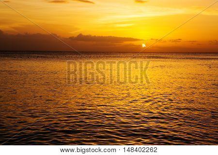 Beautiful sky colorful sunset on the sea.