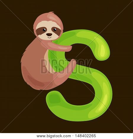 sloth animal and letter s for kids abc education in preschool.Cute animals letters english alphabet. Cartoon animals alphabet for learning letters vector illustration. Single letter with wild animal sloth