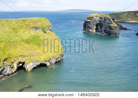 beautiful view of the virgin rock with cliffs and headland on the wild atlantic way
