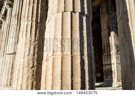 Doric columns details of the temple of Hephaestus in Ancient Agora Athens Greece