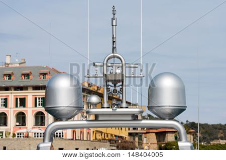 Detail of luxury grey yacht with navigation equipment radar and antennas. Portovenere Liguria Italy