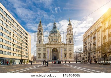 BUDAPEST, HUNGARY - FEBRUARY 20, 2016: Sunrise view of the church St. Stephen's Basilica. It is a Roman Catholic basilica in Budapest, Hungary. Built in neoclassical style.
