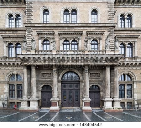 BUDAPEST, HUNGARY - FEBRUARY 21, 2016: Main building of the Corvinus University of Budapest. Part of the UNESCO Heritage Site. Built in neo-renaissance style. Budapest, Hungary.