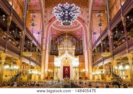 BUDAPEST, HUNGARY - FEBRUARY 21, 2016: Interior of the Great Synagogue in Dohany Street. The Dohany Street Synagogue or Tabakgasse Synagogue is the largest synagogue in Europe. Budapest, Hungary.