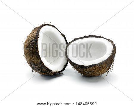 A single split coconut on a white background