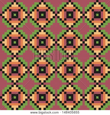 Geometric seamless stitching pattern in a desaturated colors. Pixel art. Vector illustration
