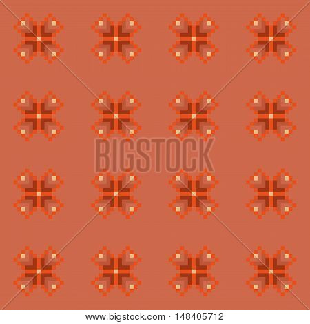 Simple seamless stitching floral pattern in desaturated colors. Pixel art. Vector illustration