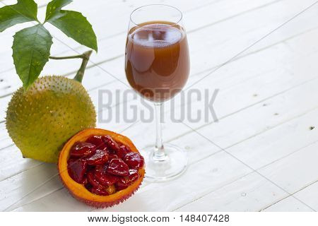 Green baby Jackfruit and juice on wooden white background.fruit for health and stillife.