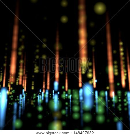 Black background with bright colourful blurred lights