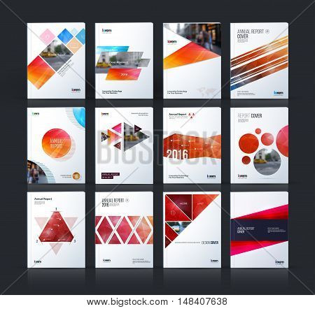 Brochure template layout, cover design annual report, magazine, flyer, leaflet in A4 with blue square, rhombus, circle, triangles, polygons with overlap effect for business and building. Vector set.