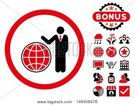 Global Manager icon with bonus symbols. Vector illustration style is flat iconic bicolor symbols, intensive red and black colors, white background.