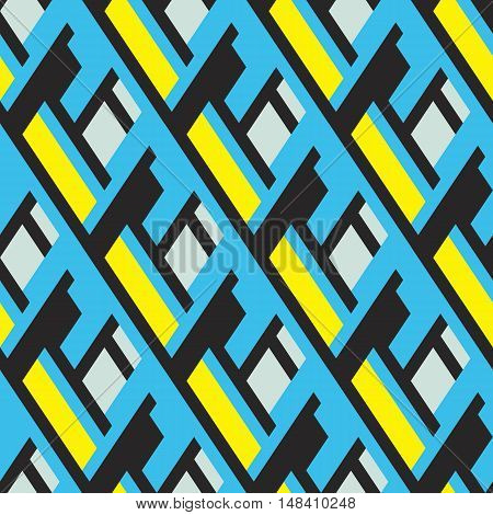 Vector geometric seamless pattern with lines, overlapping stripes, in bright colors. Modern bold memphis print with diamond shapes for fall winter fashion. Abstract dynamic techno op art background