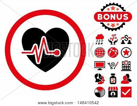 Heart Pulse icon with bonus elements. Vector illustration style is flat iconic bicolor symbols, intensive red and black colors, white background.