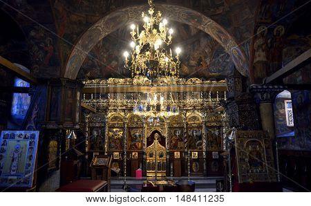 RESEN MACEDONIA. 14 AUGUST 2016- Interior of an Orthodox Church in Bitola Macedonia