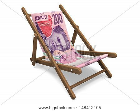 Deckchair with the hryvna banknote. Concept 3D illustration.