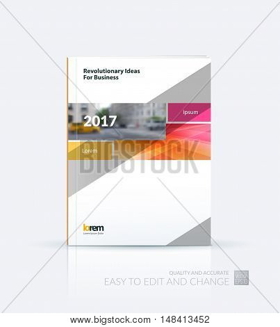 Brochure template layout, cover design annual report, magazine, flyer, leaflet in A4 with orange rectangle and diagonal strip with overlap effect for business and science. Vector.
