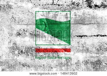 Flag Of Emilia-romagna, Italy, Painted On Dirty Wall