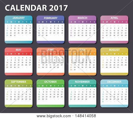 calendar 2017, starts sunday, organizer 2017, vector calendar 2017, square calendar design for 2017 year, colored calendar 2017, calendar for 2017