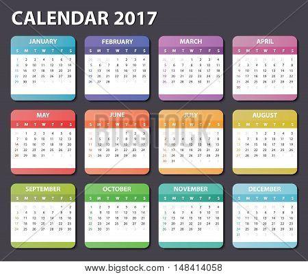 calendar 2017, starts sunday, organizer 2017, vector calendar 2017, square calendar design for 2017 year, colored calendar 2017, calendar for 2017