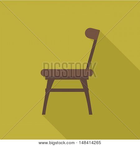 Digital vector wooden brown chair with shadow over dark yellow background, flat style