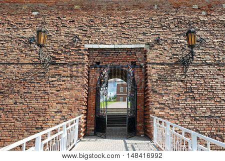 KOLOMNA RUSSIA - AUGUST 26 2016: Michael's Gate in the Kremlin in Kolomna. Built in the 16th century