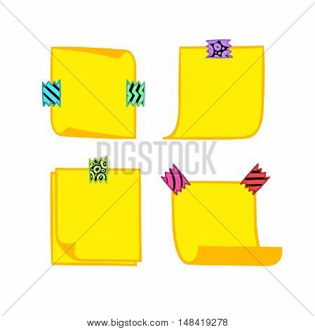 Four yellow note papers with washi tape in cartoon style, memo with curled corners, colorful decorative paper tape, isolated note paper on white background, EPS 8