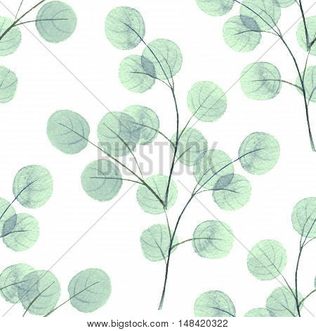Branches with geen round leaves. Watercolor background. Seamless pattern